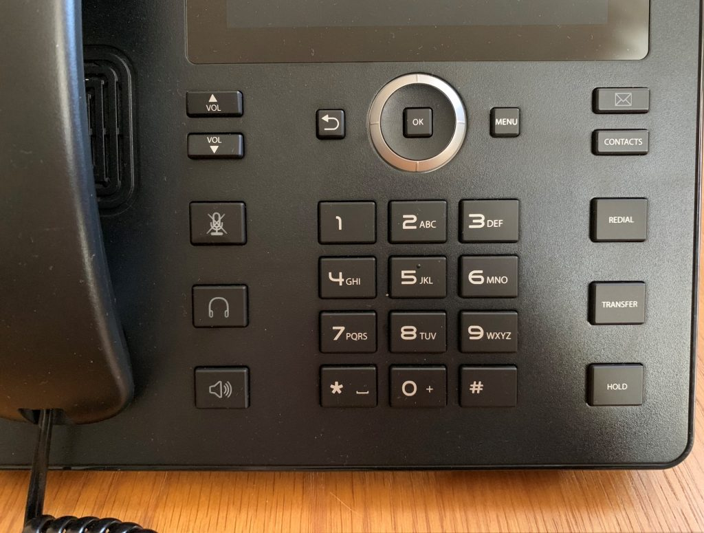 A close up of the C448HD dial pad.
