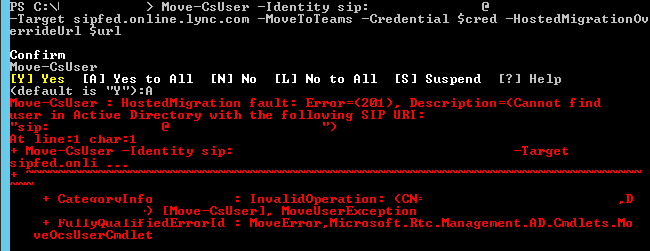 Error 201 Cannot find user in Active Directory with the following SIP URI PowerShell output.