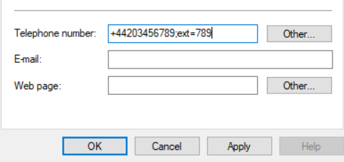 The telephone number field in Active Directory showing the dial by extension format.