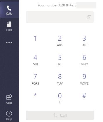 External Calling Dial Pad - Microsoft Teams Client